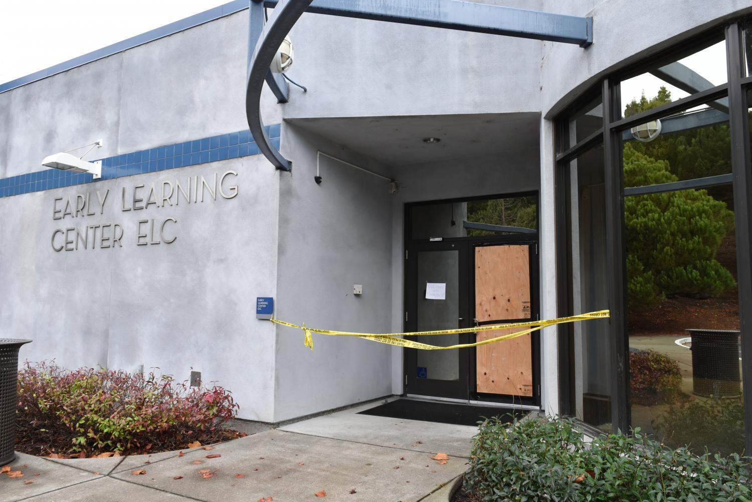 A plywood was placed on Nov. 26 to prevent any injuries from shatter glass from the vandalized door of the Early Learning Center