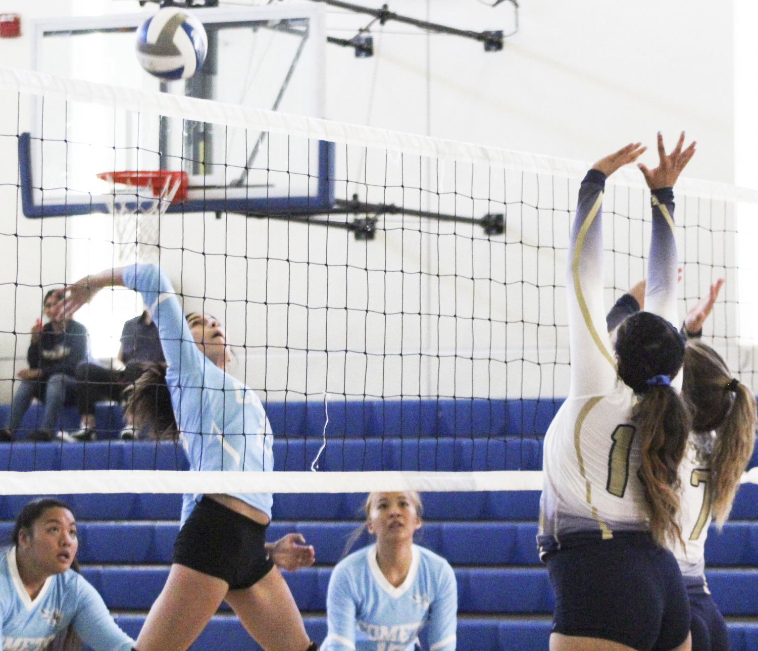 Right side hitter Nadia Thomas (left) spikes the ball over the net in the Comets' first game of the season against Yuba College in the Pinole Middle School Gymnasium on Sept. 18