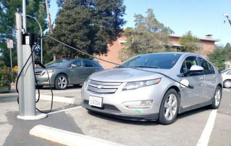 A Chevrolet Volt is plugged into the EV charging station in Lot 9. Only EV's and PHEV's are allowed to park in the designated parking spaces.