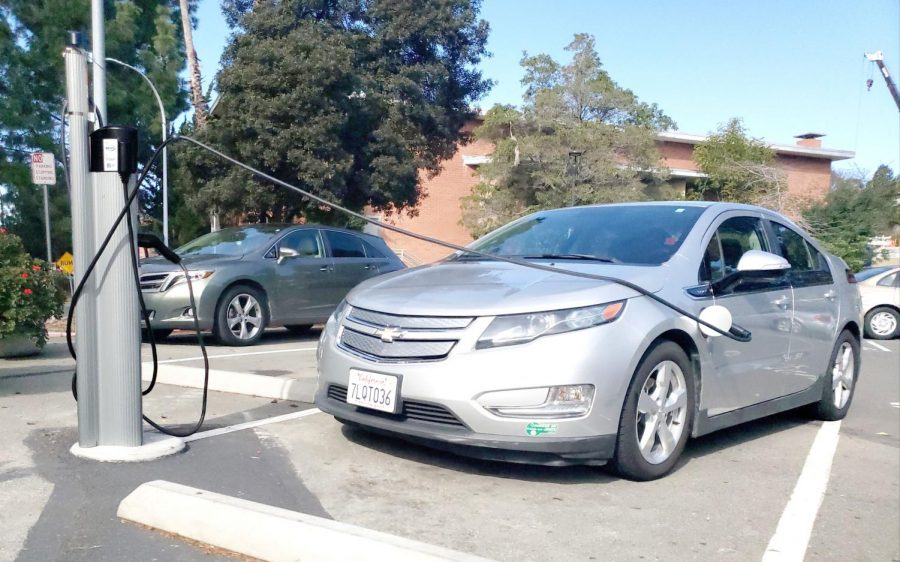 A+Chevrolet+Volt+is+plugged+into+the+EV+charging+station+in+Lot+9.+Only+EV%E2%80%99s+and+PHEV%E2%80%99s+are+allowed+to+park+in+the+designated+parking+spaces.+