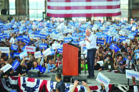 Sen. Bernie Sanders speaks to thousands of supporters at a rally in Richmond's Craneway  Pavilion  on Monday, Feb. 17.