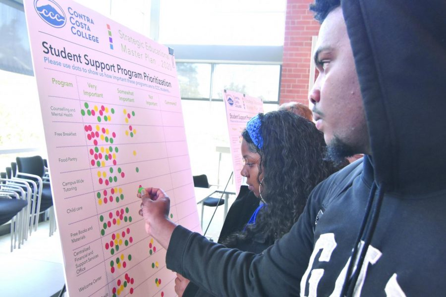 Students mark, with stickers, what they think is important to them at the Strategic Plan Student Forum that was hosted in Fireside Hall on Feb. 20.