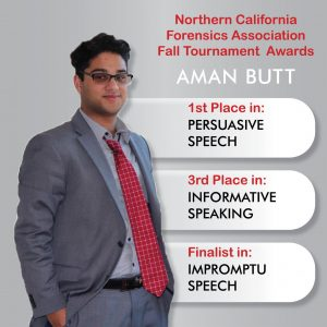 Aman Butt takes home some awards from the 2020 Northern California Forensics Association Fall Tournament for the  CCC Speech and Debate team. Photo of Butt taken from the Talk Hawk Invitational at Los Positas College from Jan. 30 to Feb. 2.