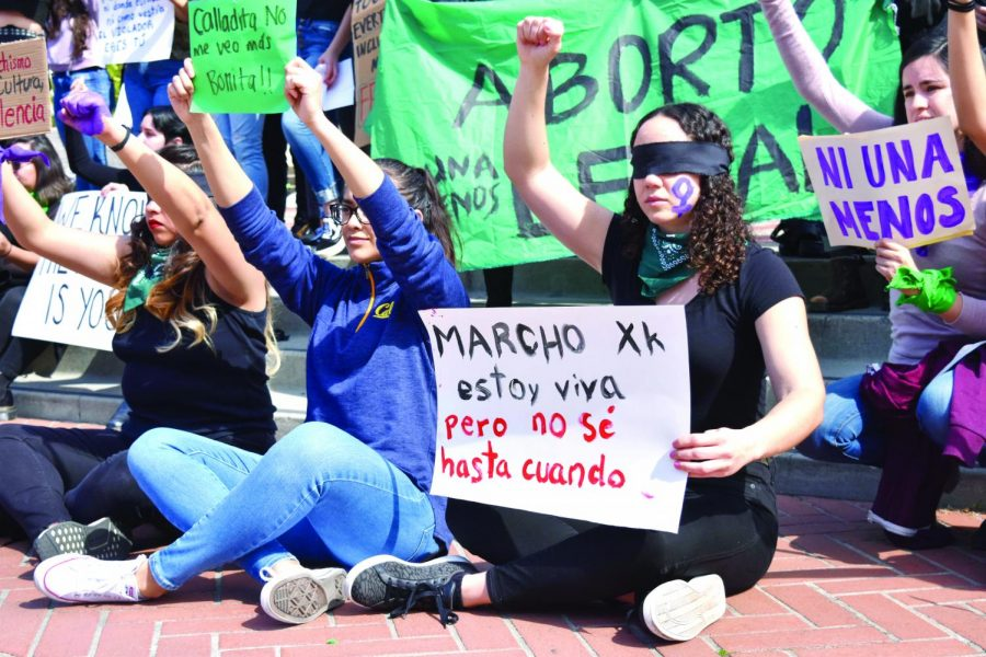 Women for Justice in Latin America, a  collective formed by UC Berkeley students and community leaders, protest against femicide at UC Berkeley in Upper Sproul Plaza in solidarity with #UnDiaSinNosotras on March 9.